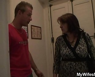 Busty granny acquires laid by son-in-law