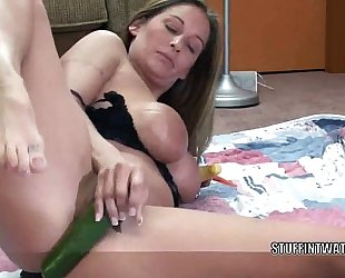 Busty wife leeanna heart fucks their way cum-hole close to pulverize