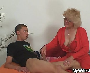Mom-in-law rides him and slutwife comes in