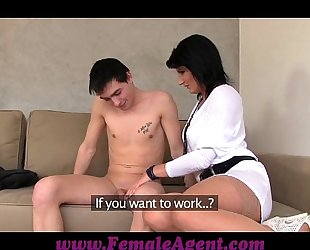 Femaleagent milf casts youthful nervous guy