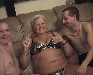 Amateur fellows with aged fatter matures