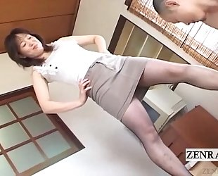 Japanese milf in hose feet teasing with subtitles