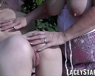 LACEYSTARR - Lesbian granny toying and cumming in nature