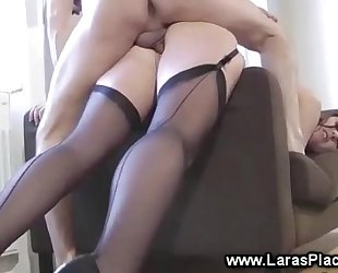 British in nylons reverse cowgirl