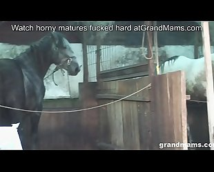 Old farmer wife takes the hard cock in the backyard