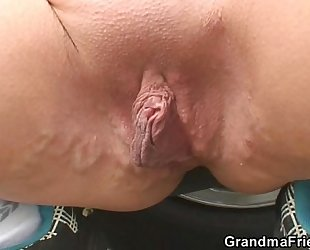 Blond granny has 3some outdoors