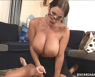 Hot milf with large scoops cook jerking