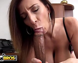Bangbros - breasty milf sara jay sucks a large dark dick like the professional that babe is