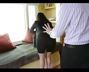 Sophie dee's bazookas distract her boss from work!