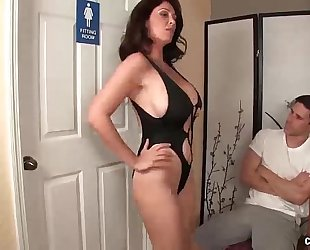 Angry step-mom jerking the youthful dude