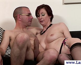 Mature nylons milf engulfing on cock in high def
