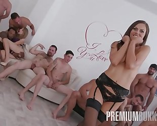 Premium bukkake - tina kay swallows 68 large loads and got dp screwed in the gazoo