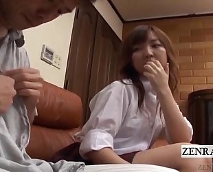 Subtitled cfnm japanese schoolgirl with mature boyfriend