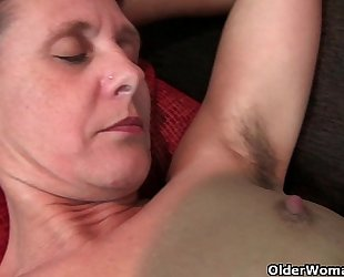 Granny inge acquires fingered up her full bushed slit