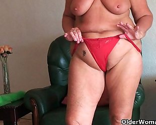 Chubby granny with saggy large love muffins and bulky booty widens bawdy cleft