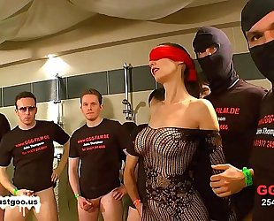 German ball cream beauties - blindfolded milf bukkake group-sex