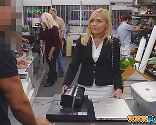 Sexually harassed milf got fired and goes to a pawn shop to sell some stuff